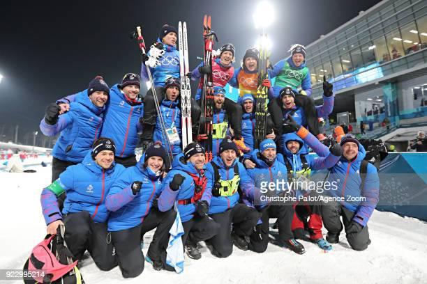 Team France wins the bronze medal during the Biathlon Women's Relay at Alpensia Biathlon Centre on February 22 2018 in Pyeongchanggun South Korea
