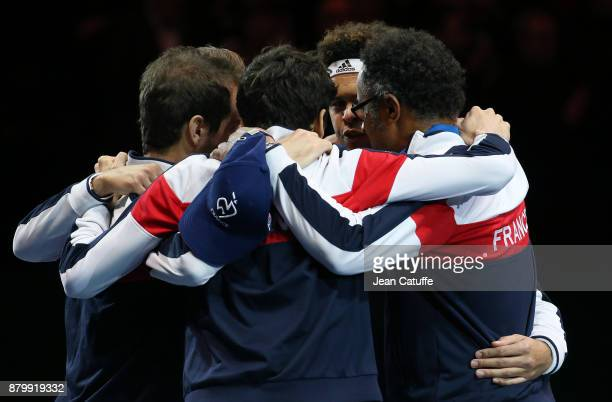 Team France with JoWilfried Tsonga PierreHughes Herbert Richard Gasquet Lucas Pouille captain of France Yannick Noah during the teams presentation on...