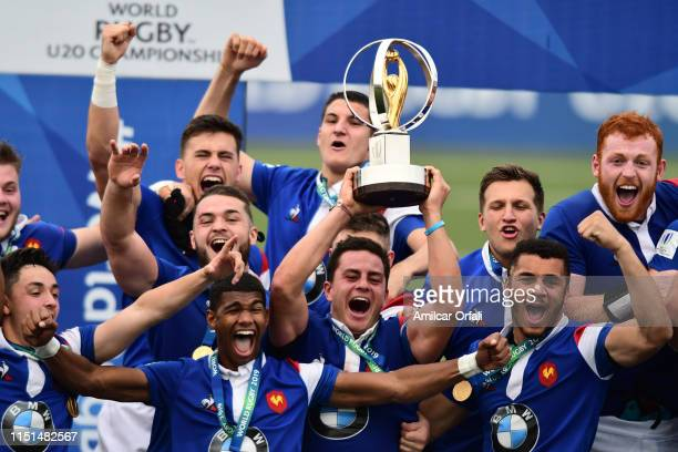 Team from France celebrates the championship during the final match of World Rugby U20 Championship 2019 between Australia U20 and France U20 at...