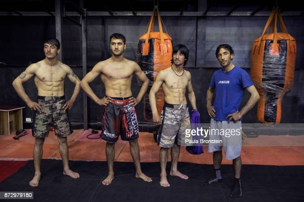 A team from the wartorn Paktia province arrives to tryout for the amateur flight at the Snow Leopard Fighting Championship gym on May 72017 in Kabul...