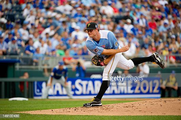 S Team Futures AllStar Gerrit Cole of the Pittsburgh Pirates pitches against the World Team during the 2012 SiriusXM AllStar Futures Game at Kauffman...