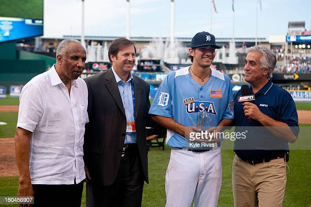 S Team Futures AllStar Nick Castellanos of the Detroit Tigers is crowned MVP of the 2012 Sirius XM AllStar Futures Game against the World Team at...