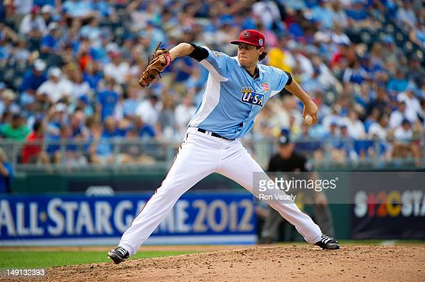 Team Futures All-Star Tyler Skaggs of the Arizona Diamondbacks pitches against the World Team during the 2012 SiriusXM All-Star Futures Game at...