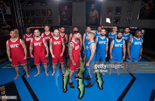 Team Garbrandt and Team Dillashaw pose for a portrait during the filming of The Ultimate Fighter Redemption at the UFC TUF Gym on January 25 2017 in...