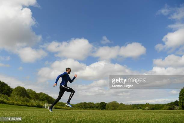 Team GB 400m sprinter Martyn Rooney during an acceleration session as he trains in isolation on May 11, 2020 in Loughborough, England.