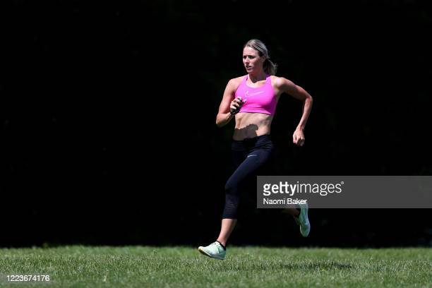 Team GB Athlete Jessie Knight of Great Britain trains in a park near her house in Epsom She is also a Teacher at Danetree Primary School in Ewell on...