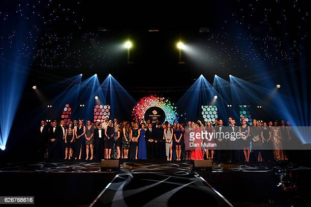 Team GB athletes seen onstage at the Team GB Ball at Battersea Evolution on November 30 2016 in London England