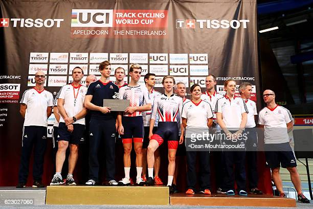 Team GB celebrate their overall win during the Tissot UCI Track Cycling World Cup 20162017 held at the sport centre Omnisport on November 13 2016 in...