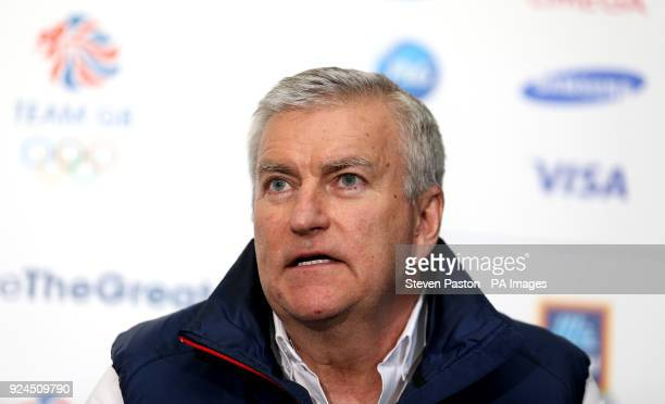 Team GB CEO Bill Sweeney as Team GB during a press conference after arriving at Heathrow Airport following the PyeongChang 2018 Winter Olympic Games