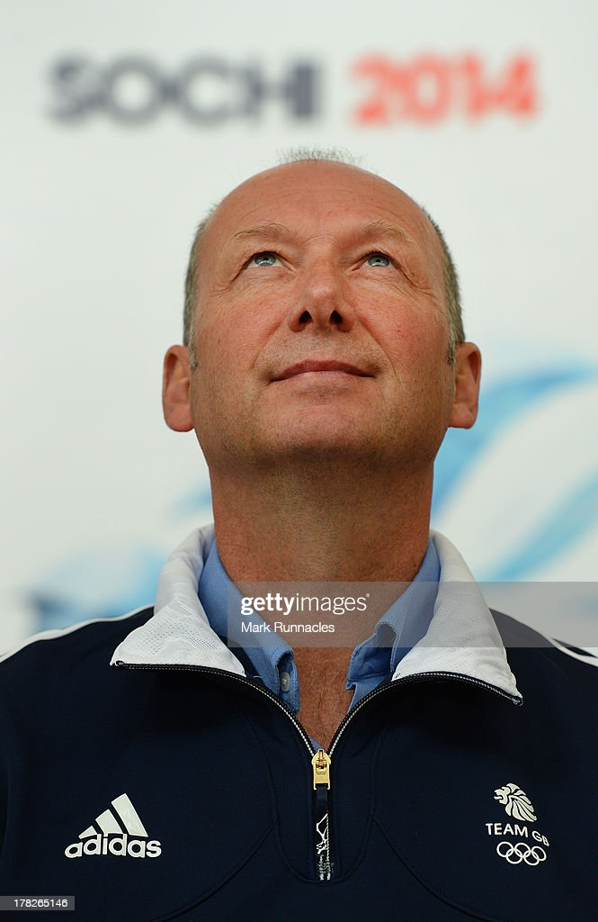 Team GB Chef de Mission Mike Hay poses during a press conference to announce they have been selected for the Team GB Curling team for the Sochi 2014 Winter Olympic Games at Braehead Curling Rink on August 28, 2013 in Glasgow, Scotland.