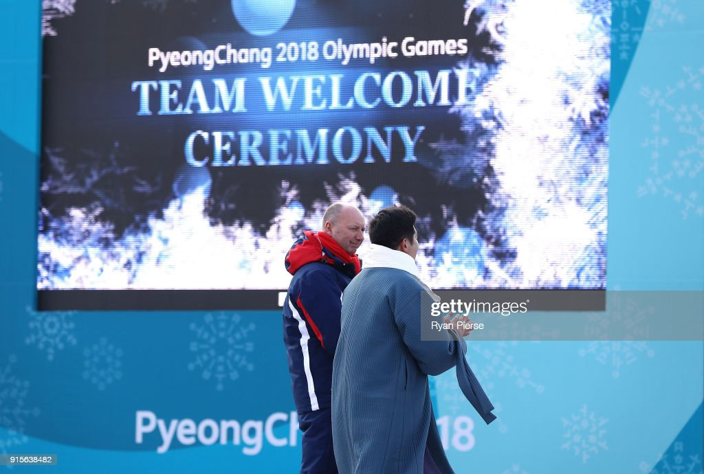 Team GB Chef de Mission Mike Hay recieves a gift from Ryu Seung-Min, Mayor of the Olympic Village during the Team GB Team Welcome Ceremony during previews ahead of the PyeongChang 2018 Winter Olympic Games at PyeongChang Olympic Village on February 8, 2018 in Pyeongchang-gun, South Korea.