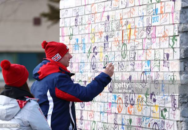 Team GB Chef de Mission Mike Hay signs the treaty wall during the Team GB Team Welcome Ceremony during previews ahead of the PyeongChang 2018 Winter...