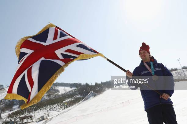 Team GB closing ceremony flag holder bronze medal winning snowboarder Billy Morgan is seen on day sixteen of the 2018 PyeongChang Winter Olympic...