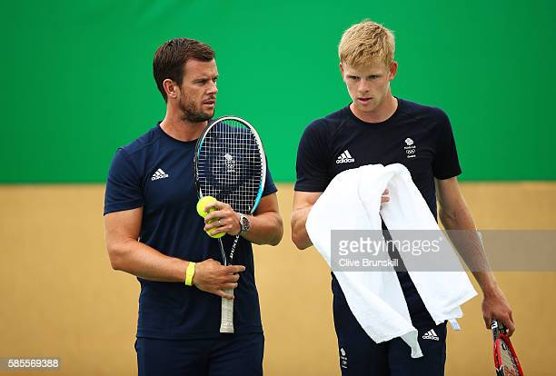 Team GB coach Leon Smith and Kyle Edmund of Great Britain during a practice session ahead of the Rio 2016 Olympic Games at the Olympic Tennis Centre...