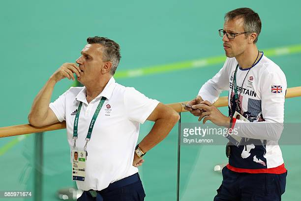 Team GB Coaches Heiko Salzwedel and Paul Manning keep an eye on their riders during training at the Rio Olympic Velodrome on August 4 2016 in Rio de...