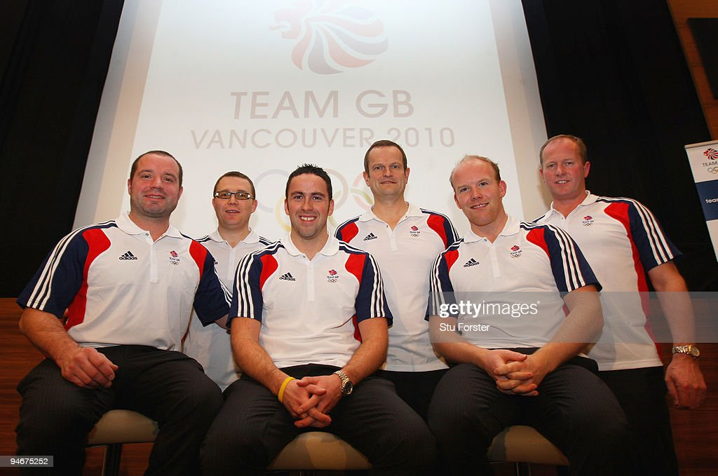 Team GB Curling Mens team from left to right Euan Byers, Graeme Connal, Dave Murdoch (skip), Pete Smith, Ewan Macdonald and coach David Hay look on at the announcment of the Vancouver 2010 Olympic Winter Games Curling team at the Sofitel, Heathrow on December 17, 2009 in London, England.