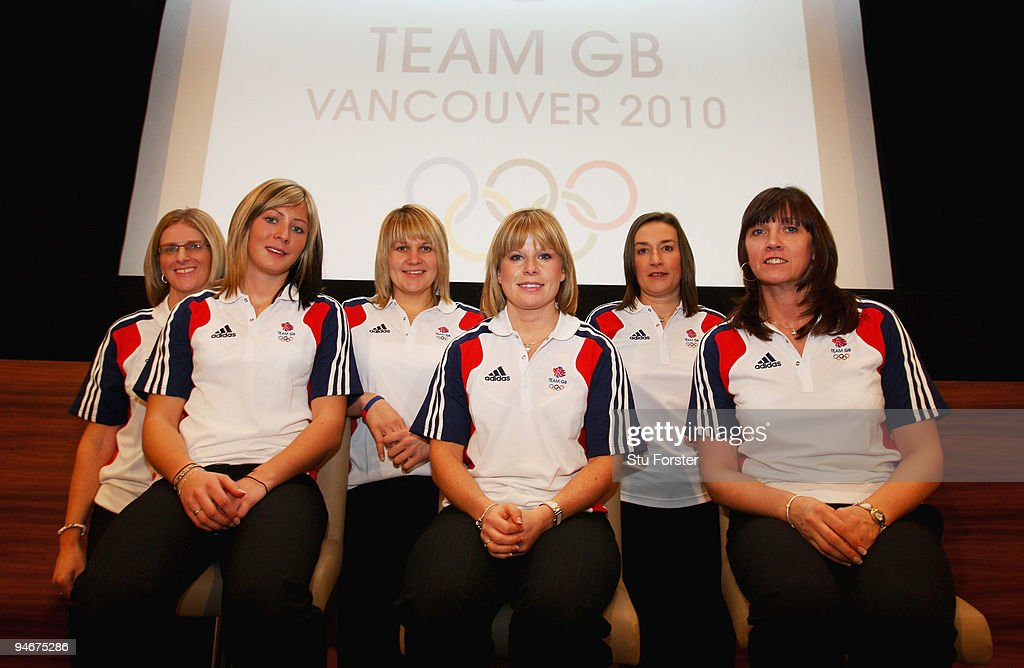 Team GB Curling Womens team from left to right Nancy Murdoch (coach) , Eve Muirhead (skip), Lorna Vevers, Kelly Wood, Karen Addison and Jackie Lockhart look on at the announcment of the Vancouver 2010 Olympic Winter Games Curling team at the Sofitel, Heathrow on December 17, 2009 in London, England.