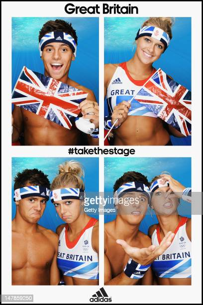 Team GB divers Tom Daley and Tonia Couch pose for pictures in the adidas photobooth during the adidas Team GB kitting out on July 1 at Loughborough...