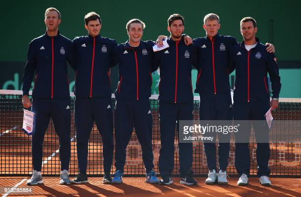 Team GB Dominic Inglot Jamie Murray Liam Broady Cam Norrie Kyle Edmund and Captain Leon Smith line up for the anthems during day one of the Davis Cup...