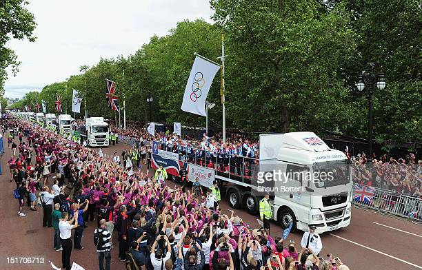 Team GB drive up The Mall during the London 2012 Victory Parade for Team GB and Paralympic GB athletes on September 10 2012 in London England