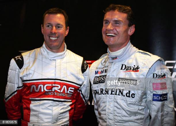 Team GB drivers Colin McRae and David Coulthard share a joke during a press conference prior to the Race of Champions at the Stade de France on...