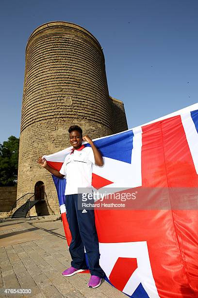 Team GB Flagbearer Nicola Adams poses in front of the Maiden Tower in Baku's Old City ahead of Baku 2015 the 1st European Games on June 10 2015 in...