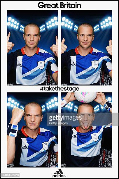 Team GB footballer Tom Cleverley poses for pictures in the adidas photobooth during the adidas Team GB kitting out on July 1 at Loughborough...
