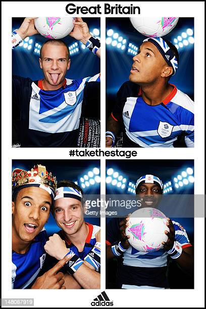 Team GB footballers Tom Cleverley Ryan Bertrand Scott Sinclair and Joe Allen and Marvin Sordell pose for pictures in the adidas photobooth during the...