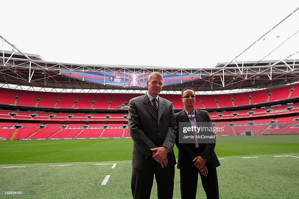 Team GB head coaches Stuart Pearce and Hope Powell attend the Official Draw for the London 2012 Olympic Football Tournament at Wembley Stadium on April 24, 2012 in London, England.