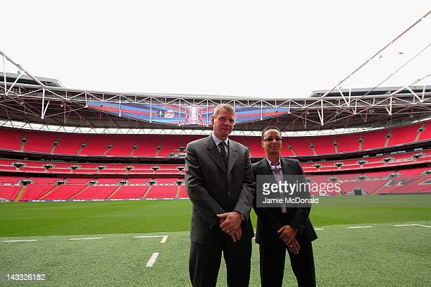 Team GB head coaches Stuart Pearce and Hope Powell attend the Official Draw for the London 2012 Olympic Football Tournament at Wembley Stadium on...