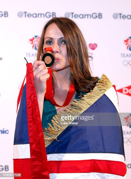 Team GB heptathlete Kelly Sotherton receives her bronze medal from the 2008 Olympics attends The Team GB Ball 2018 held at The Royal Horticultural...