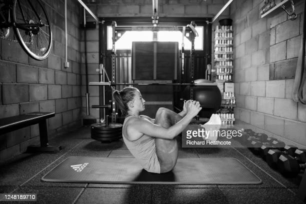 Team GB Hockey Goalkeeper and 2016 Olympic Gold Medalist Maddie Hinch trains at home on June 08, 2020 in Maidenhead, England.