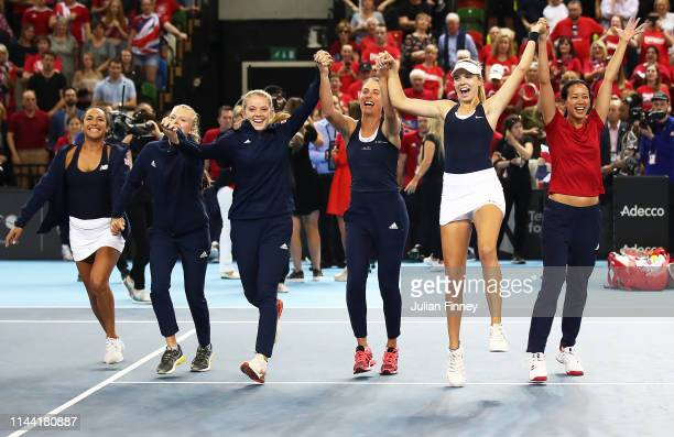 Team GB Katie Boulter, Katie Swan, Johanna Konta, Harriet Dart, Heather Watson and captain Anne Keothavong of Great Britain after defeating...