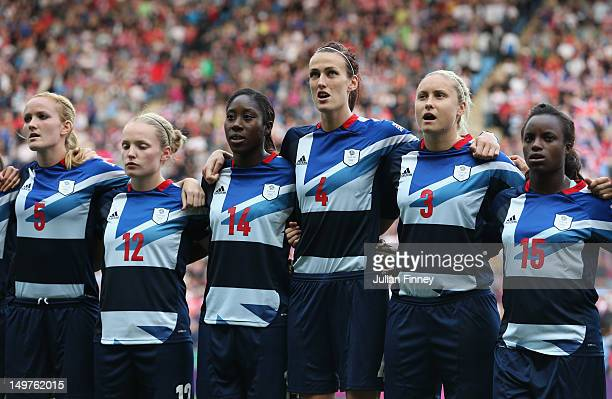 Team GB line up before the Women's Football Quarter Final match between Great Britain and Canada on Day 7 of the London 2012 Olympic Games at City of...