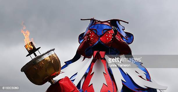 Team GB lion is prepared before leading the floats during a Rio 2016 Victory Parade for the British Olympic and Paralympic teams on October 17 2016...