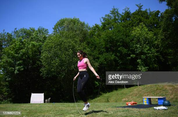 Team GB Olympic Trap Shooter Augusta CamposMartyn trains at her home on May 24 2020 in Salisbury England