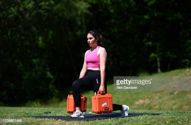 Team GB Olympic Trap Shooter Augusta CamposMartyn uses Cartridge Boxes to train at her home on May 24 2020 in Salisbury England