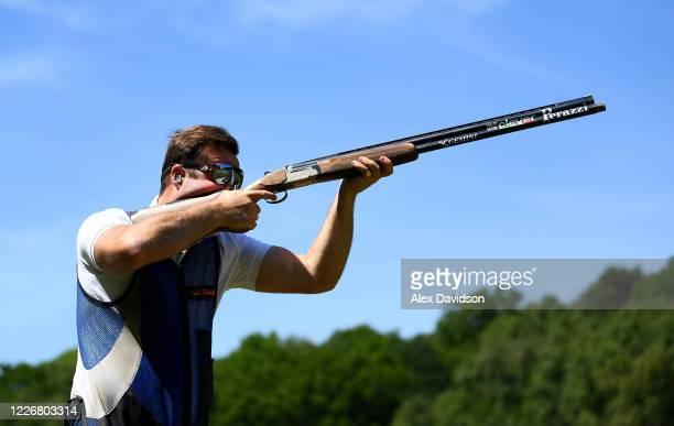 Team GB Olympic Trap Shooter Matt CowardHolley trains at home on May 24 2020 in Salisbury England