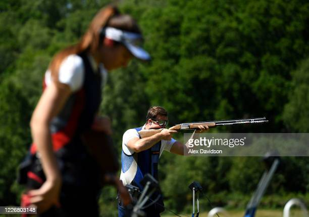 Team GB Olympic Trap Shooters Augusta CamposMartyn And Matt CowardHolley train at their home on May 24 2020 in Salisbury England