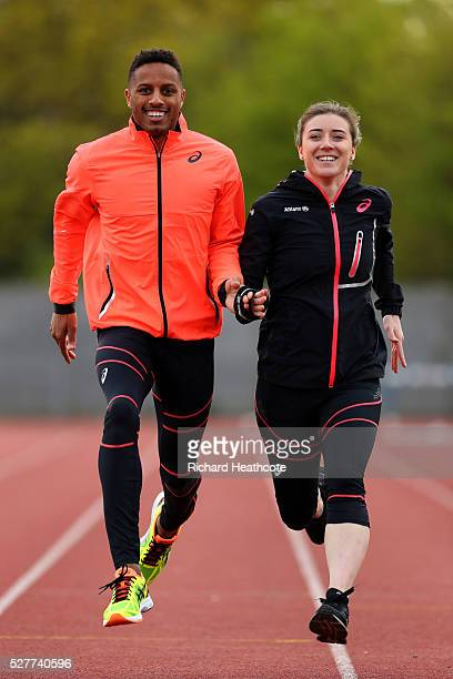 Team GB Paralympic sprinter Libby Clegg poses with her guide Chris Clarke at Loughborough University Athletics Stadium on May 03, 2016 in...