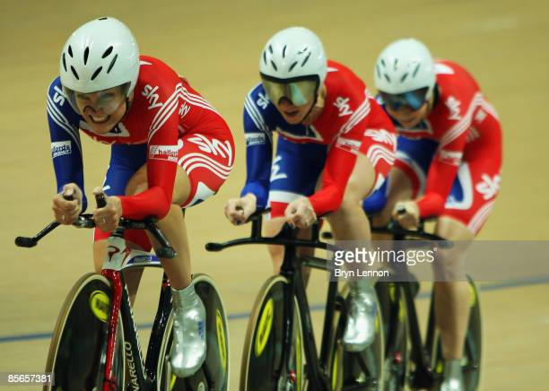 Team GB riders Elizabeth Armitstead Wendy Houvenaghel and Joanna Rowsell ride to a gold medal in the Women's Team Pursuit during the UCI Track...