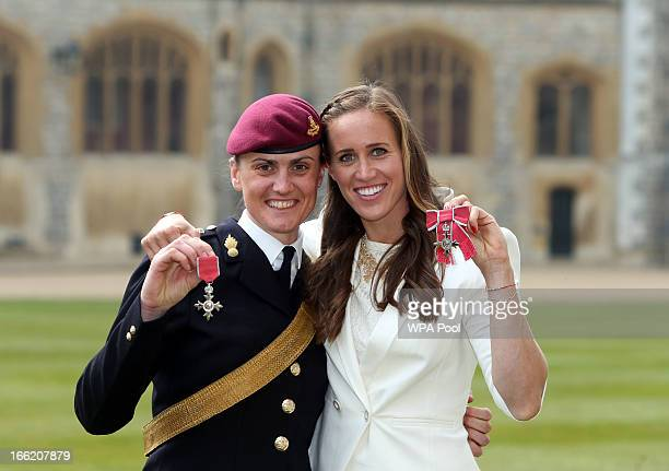 Team GB rowers Helen Glover and Captain Heather Stanning pose after they both received MBE's at an Investiture ceremony at Windsor Castle on April 10...