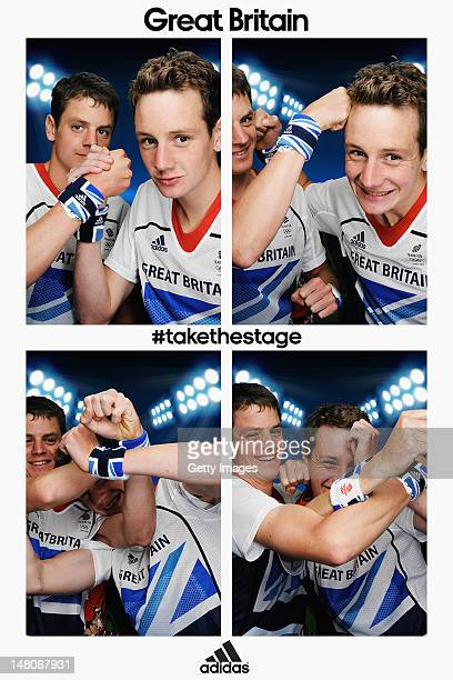 Team GB triathlon brothers Alistair Brownlee and Jonathan Brownlee pose for pictures in the adidas photobooth during the adidas Team GB kitting out...