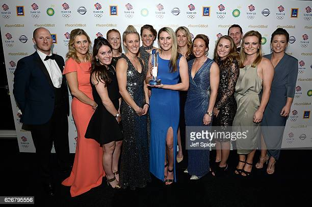 Team GB Women's hockey team pose with the People's Choice Award as they attend the Team GB Ball at Battersea Evolution on November 30 2016 in London...