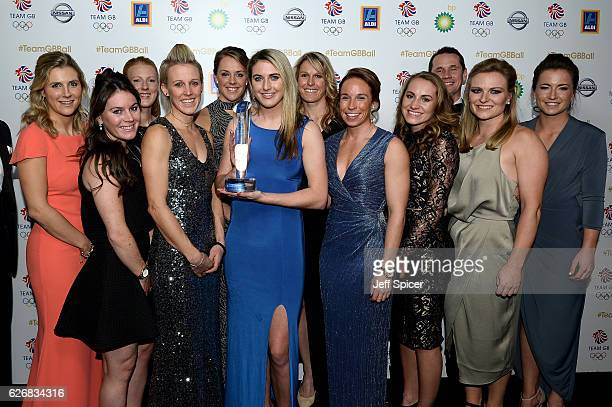 Team GB Women's Hockey team pose with the People's Choice Award at the Team GB Ball at Battersea Evolution on November 30 2016 in London England
