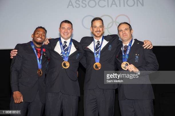Team GBs fourman bobsleigh team receive their bronze medal from the Sochi 2014 Olympic Winter Games at the Team GB Ball on Thursday 21 November 2019...