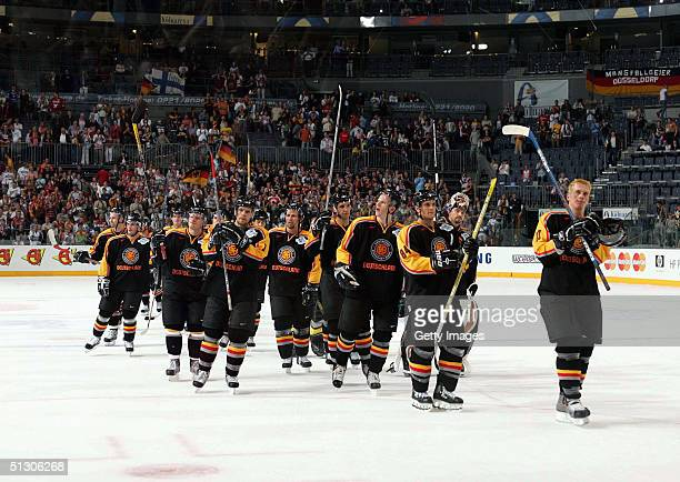 Team Germany acknowledges the crowd from center ice during the World Cup of Hockey at Cologne Arena in Cologne Germany on September 2 2004 Finland...