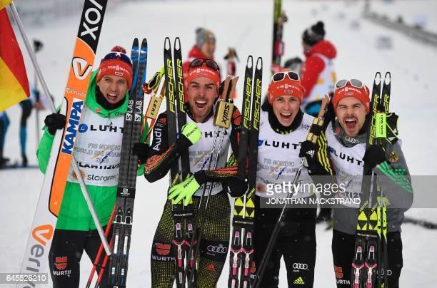Team Germany Bjoern Kircheisen, Johannes Rydzek, Eric Frenzel and Fabian Riessle pose after winning the men's nordic combined NH Team Gundersen 4x5...