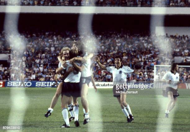 Team Germany celebrate his victory during of the game Semi Final World Cup match between West Germany and France 8th July 1982 in Ramon Sanchez...
