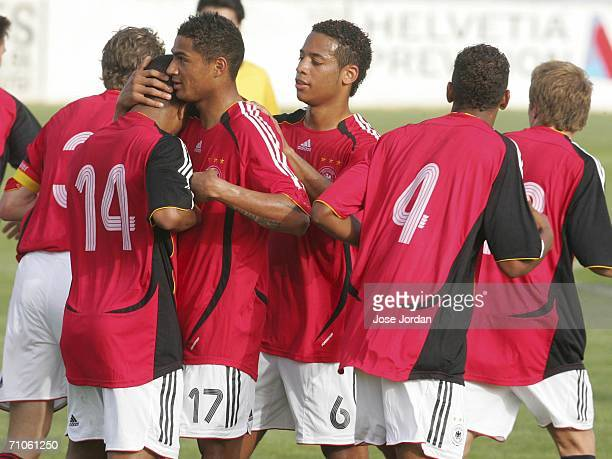 Team Germany celebrate their second goal during the UEFA Under 19 qualification round between Germany and Cyprus at the Estadio Municipal on May 26...